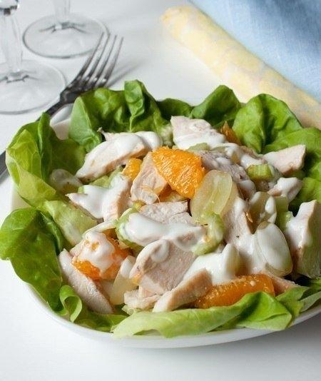 Фото к рецепту: Салат из курицы с фруктами
