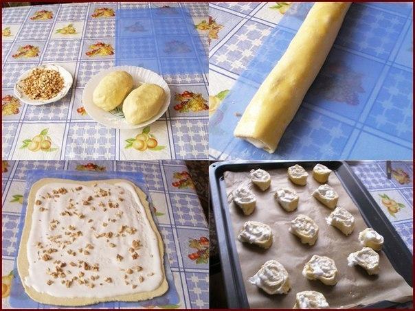 Фото к рецепту: Творожные печенья: Поцелуйчики и Розочки