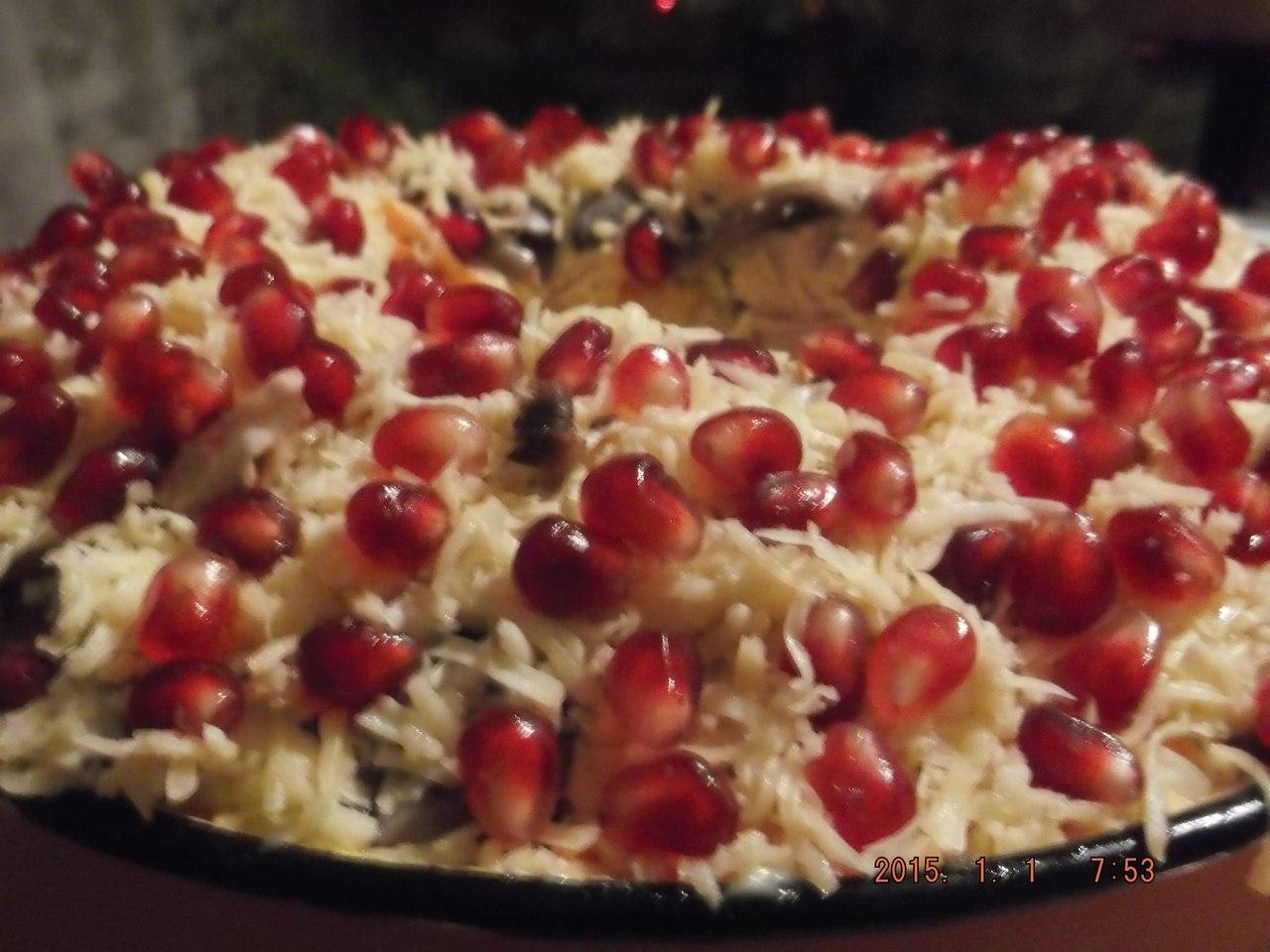 Гранатовый браслет салат с сыром рецепт с