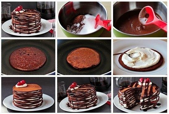 Фото к рецепту: Шоколадный торт из блинчиков