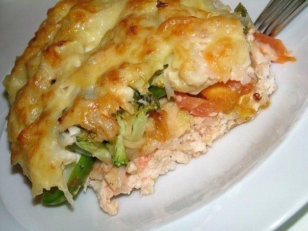 Фото к рецепту: Запеканка из овощей и куриного фарша