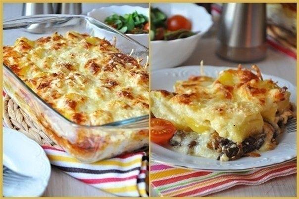 Фото к рецепту: Сливочно - сырная запеканка с грибами и картофелем