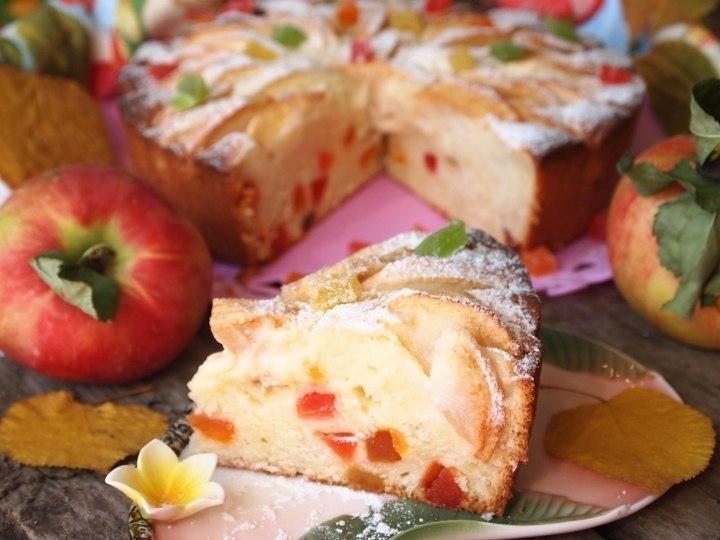 Фото к рецепту: Творожно-яблочный пирог Краски осени