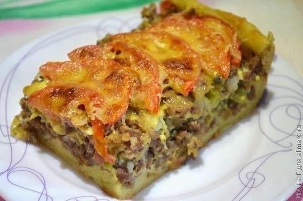 Фото к рецепту: Открытый мясной пирог из картофельного теста