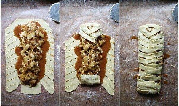 плетеный штрудель с яблоками из слоеного теста пошаговый рецепт с фото