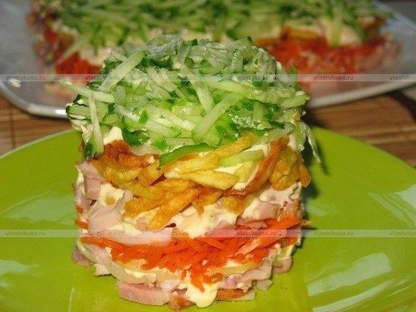 Салат слоеный с картошкой и курицей и ананасами рецепт 15