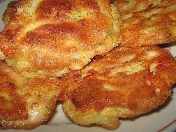 отбивные с куриного филе в кляре с сыром