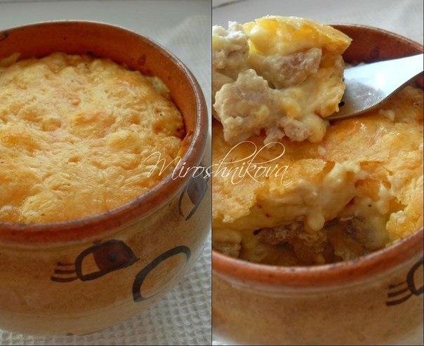 жюльен из курицы с грибами рецепт в горшочках с картошкой в духовке
