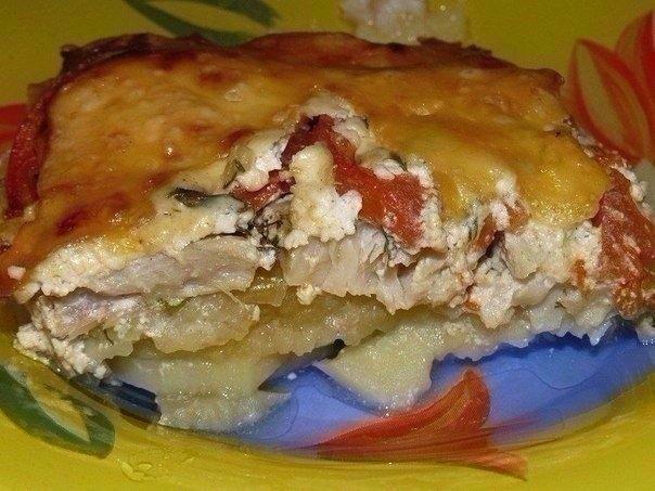 Фото к рецепту: Обалденная вкусная запеканка картофельная с рыбкой
