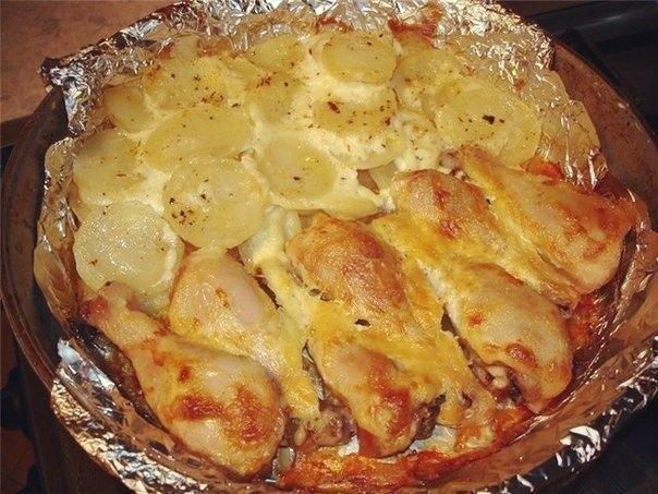 Вкусные блюда из курицы с картошкойы с фото