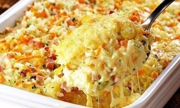 Фото к рецепту: Запеканка из риса, ветчины и сыра