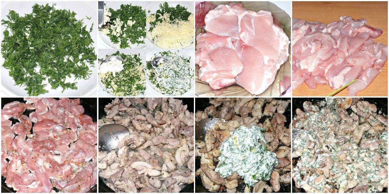 Фото к рецепту: Куриное филе с чесноком и сыром.