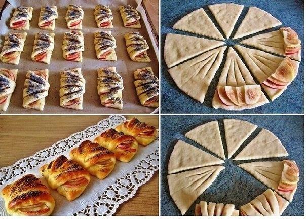 Фото к рецепту: Конвертики с яблоками из творожного теста