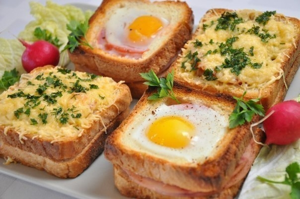 Фото к рецепту: Необычные и вкусные бутерброды к завтраку