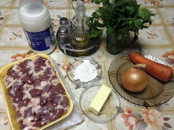 Фото к рецепту: Тушеные куриные сердечки.