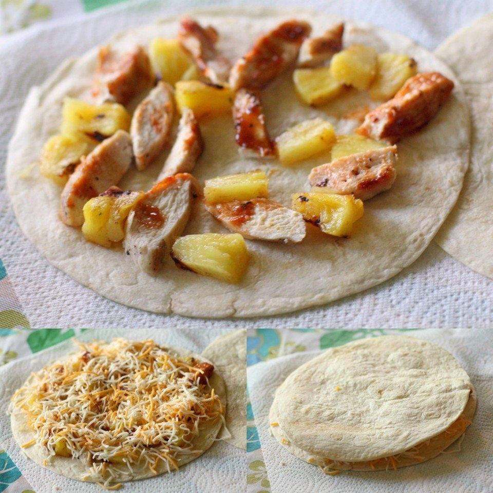 Фото к рецепту: Кесадилья с ананасом и курицей