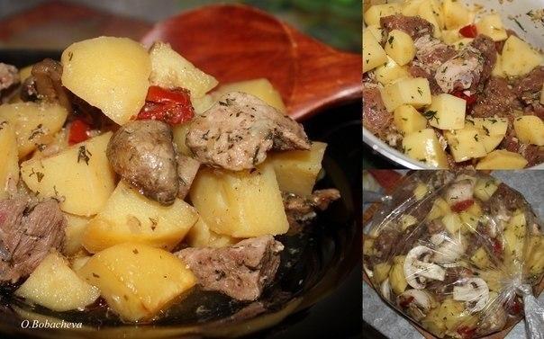 Фото к рецепту: Мясо с картофелем в рукаве