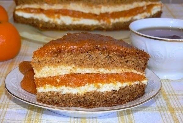 Фото к рецепту: Торт с курагой и творогом