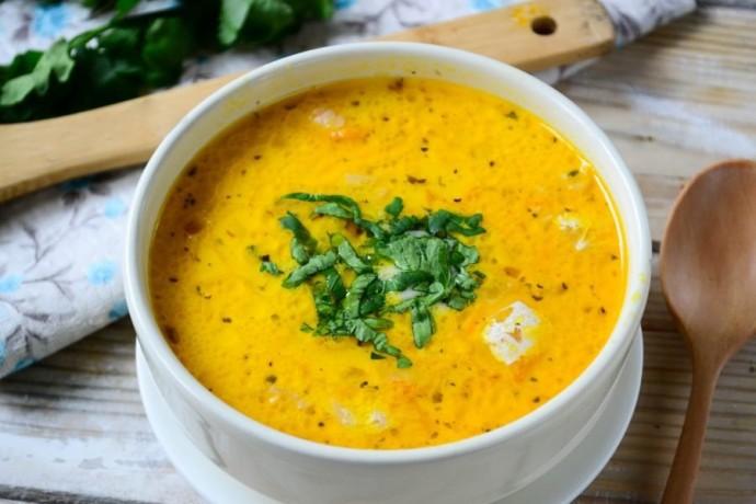 Сырный суп с лососем и рисом 0