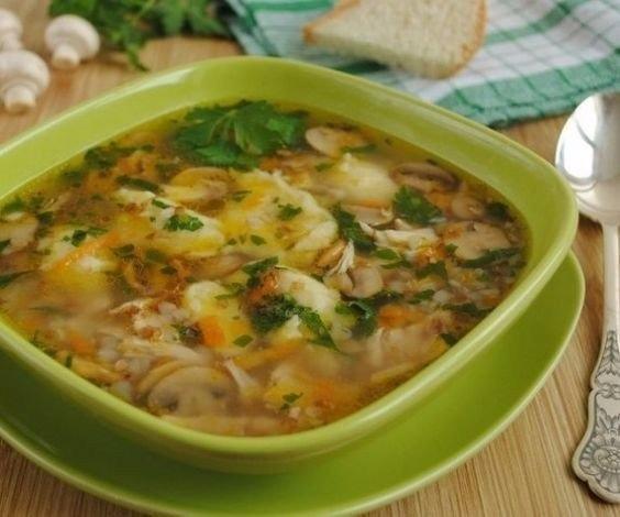 Гречневый суп с грибами и картофельными клецками 0