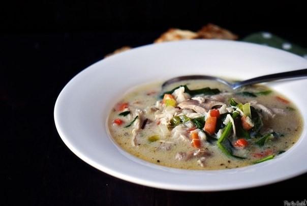 Крем-суп с курицей и диким рисом